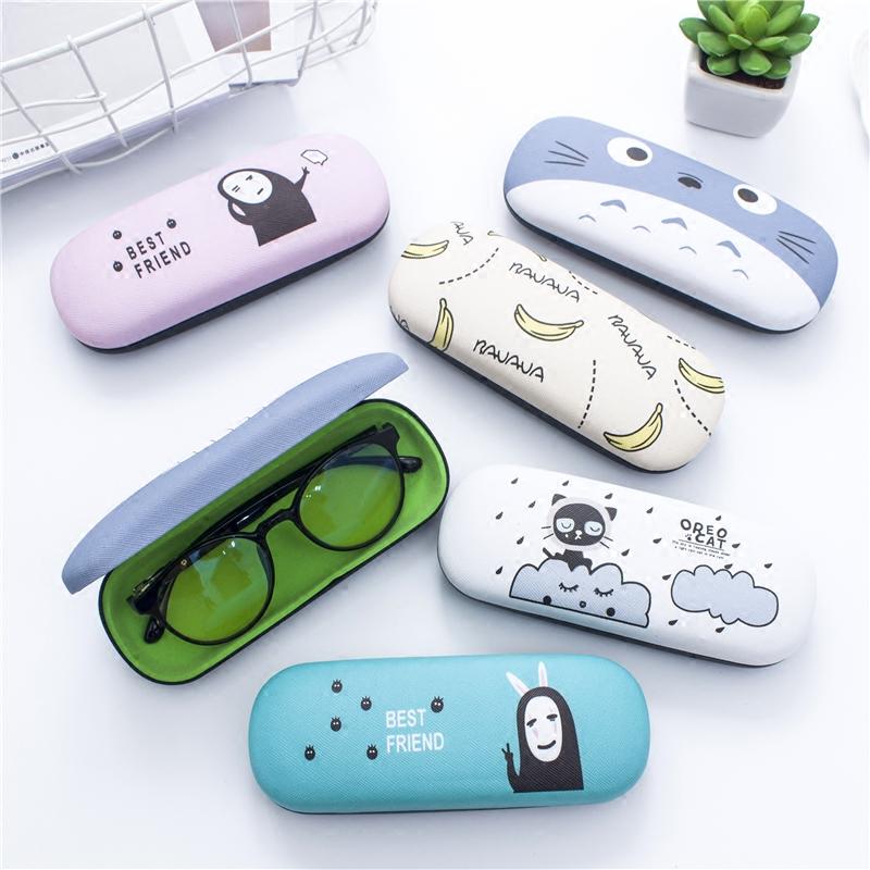 韩国pu皮质卡通眼镜盒清新简约男女学生框架近视眼镜收纳盒防摔压