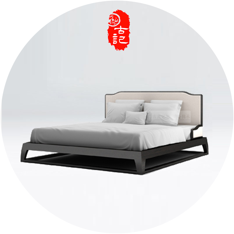 Modern new Chinese style bed, solid wood bed, 1.8 meters cloth double bed, 2 meters, 2.2 meters big bed, master bedroom, Princess Bed