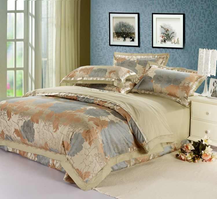 Wang Jue textile quality cotton silk satin jacquard bedding four piece set in Huadu
