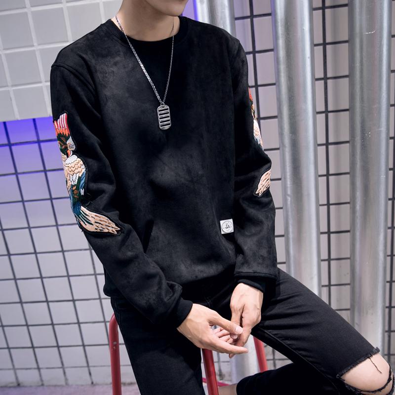 冬款鹿皮绒韩版修身大码卫衣男装加绒潮男士打底套头加厚长袖T恤