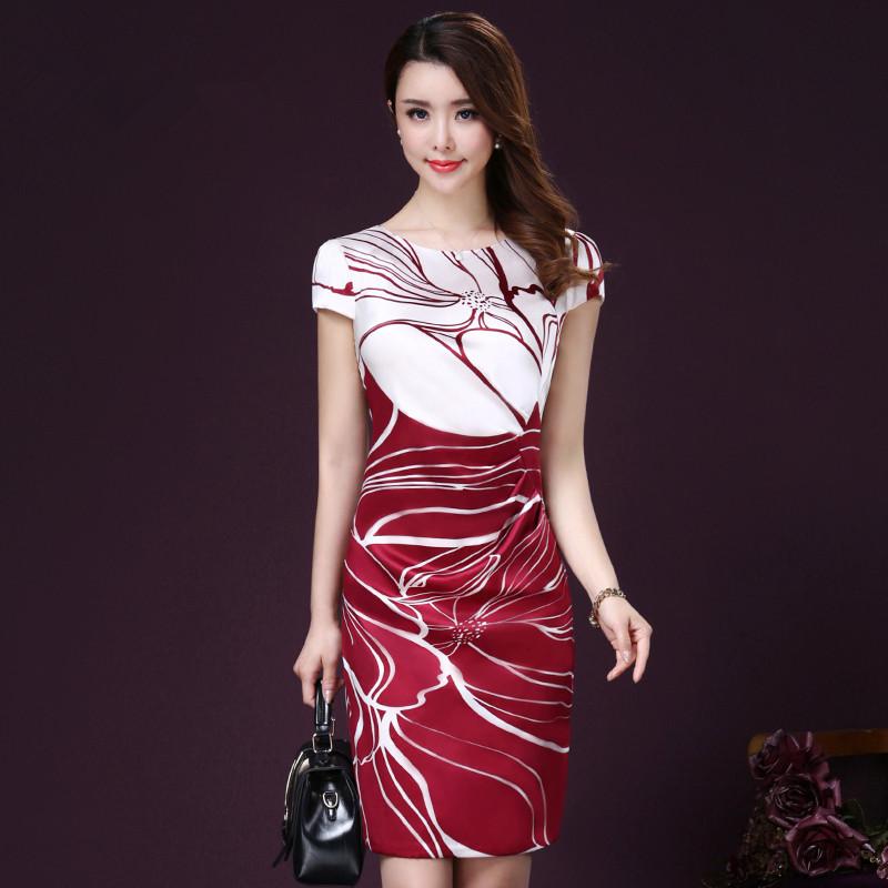 2017夏季新款修身顯瘦優雅氣質圓領女裝短袖印花真絲連衣裙