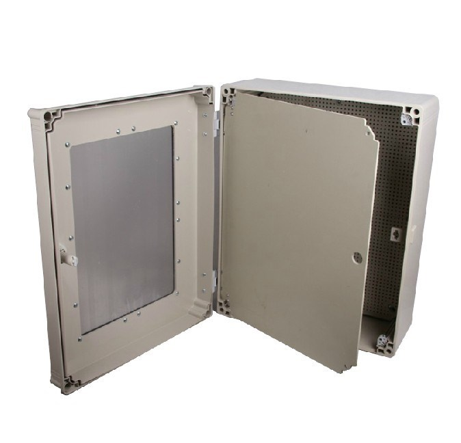 The door with a transparent cover plastic junction box 600*400*195mm outdoor distribution box hinge type waterproof box