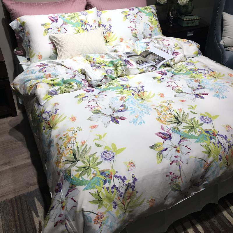 Spring and summer of 100% double-sided pure Tencel 80 genuine simple bedding set of four 1.51.8 bed