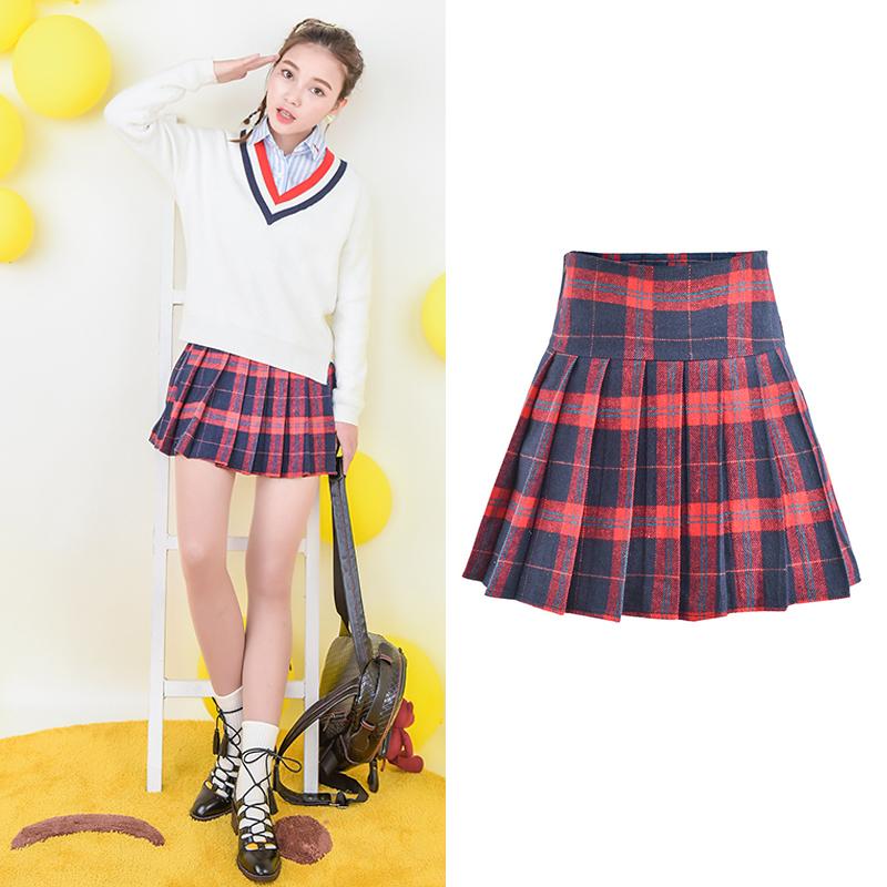 Váy nữ tôn dáng cạp cao dáng xòe phong cách học sinh trẻ trung cho mùa đông thêm ấm áp mẫu mới nhất