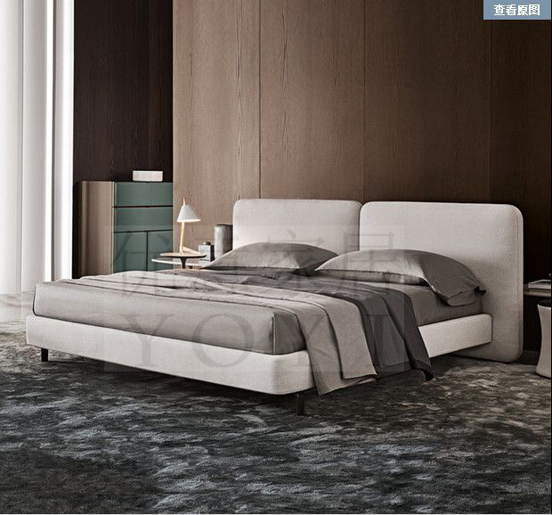 New fashion simple modern bedroom fabric soft bed the large-sized apartment storage box detachable double bed