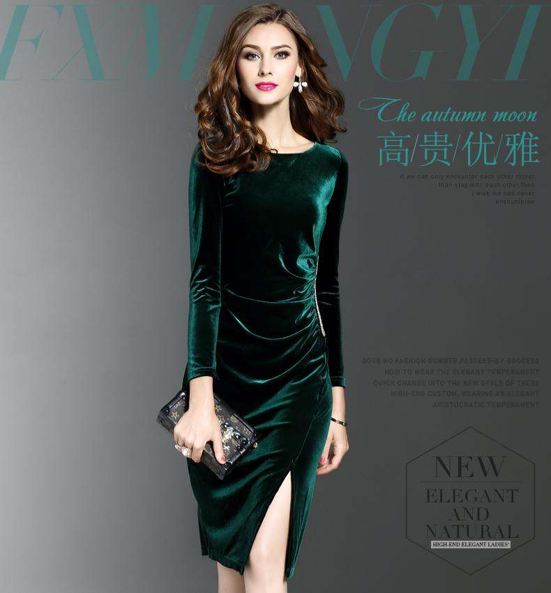 2017春裝新款絲絨連衣裙女長袖修身顯瘦中長裙收腰一步裙