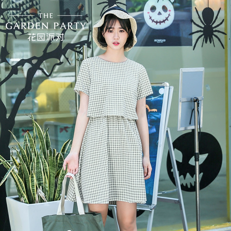 Garden party 2017 summer new Korean literary small fresh students leave two Plaid Dress female