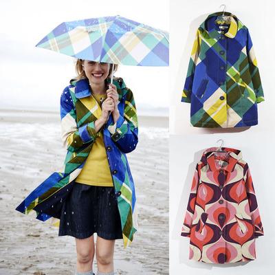 挺括棉布印花抓绒内里 可拆卸帽修身防风雨保暖风衣 2色入原单