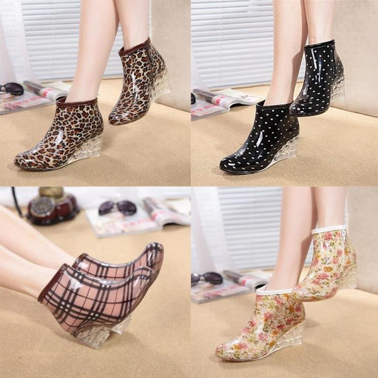 时尚女士雨鞋水靴成人韩国短筒雨靴高跟坡跟水鞋防滑胶鞋套鞋春秋