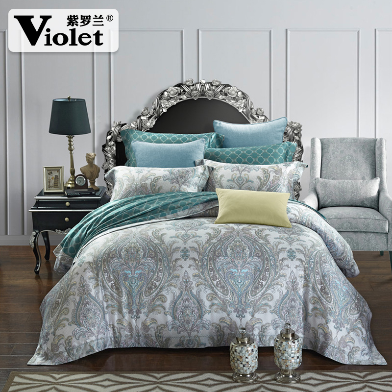 Violet 60S double-sided printing four pieces of Tencel bedding bedding 1.8 meters of 4 1.5m