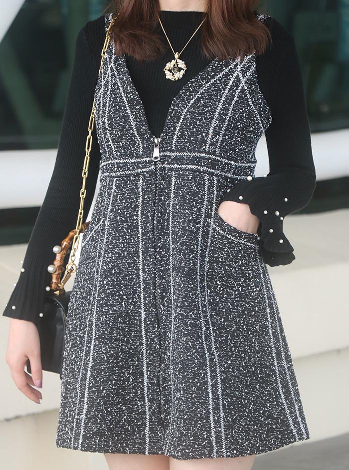 2017秋鼕韓版修身顯瘦無袖背心裙 V領氣質高腰A字毛呢背帶連衣裙