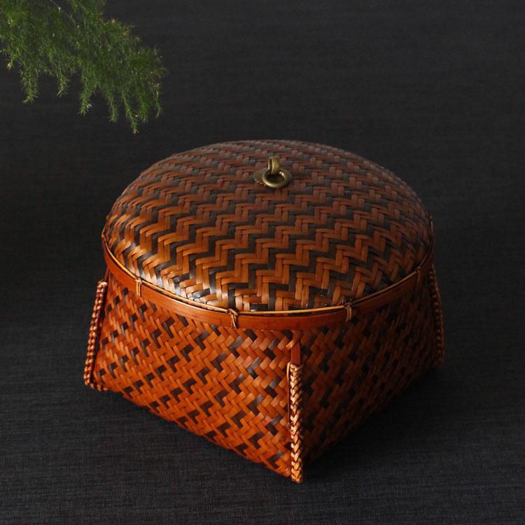 編織盒 復古 竹編 普爾茶 食盒 茶道收納盒 竹編手工藝