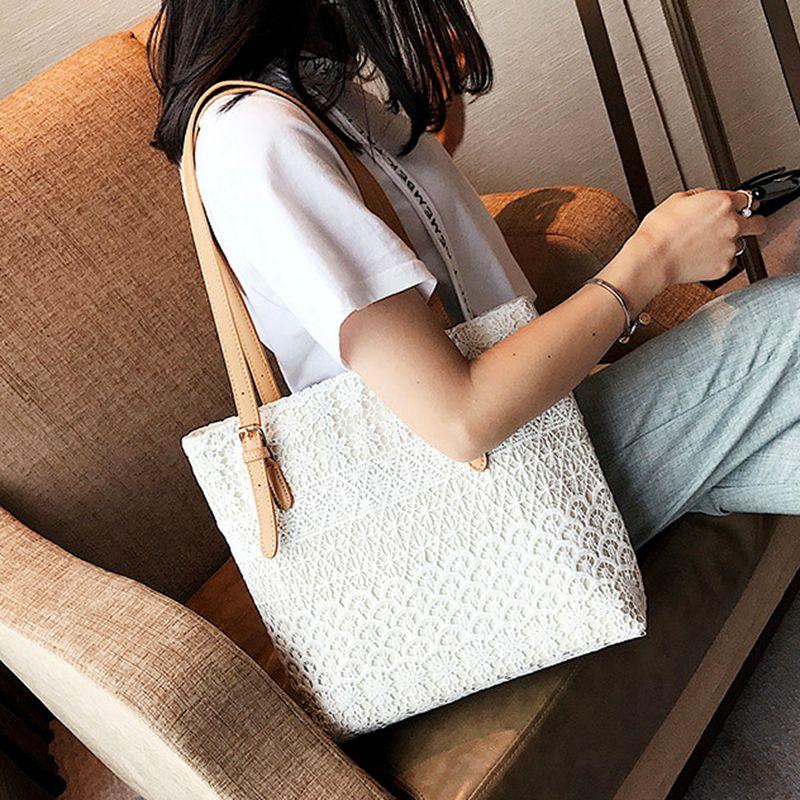 文艺帆布包蕾丝包包女2017新款潮托特包大包韩版单肩包通勤手提包