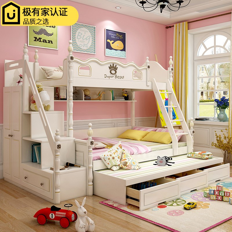 Mother child bunk bed, upper and lower bed, bookshelf, American bed, adult boy, combination bed, child bed girl