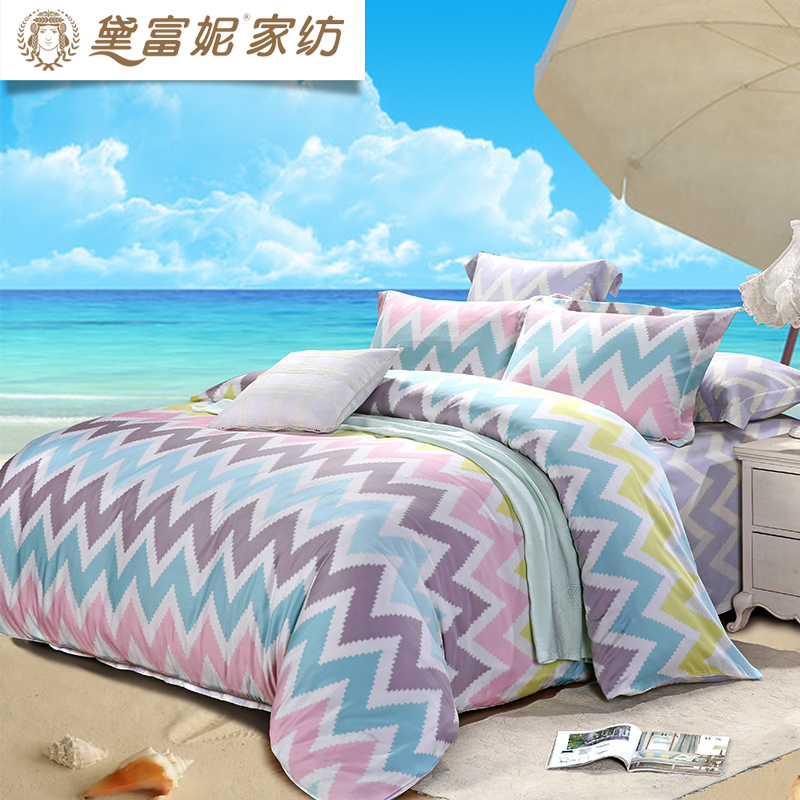 Dai Funi textile genuine Tencel Four Piece Kit bedsheets wave pattern summer clothes Lyocell Kit