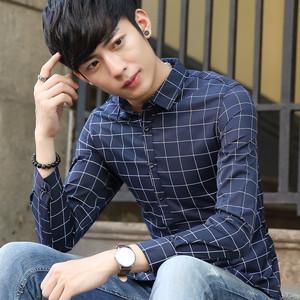 青少年格子衬衫男长袖男士学生秋季休闲衬衣潮流男装薄款衣服064