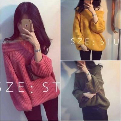 2016秋装新款韩版露肩宽松套头毛衣一字领上衣长袖针织衫女装P723