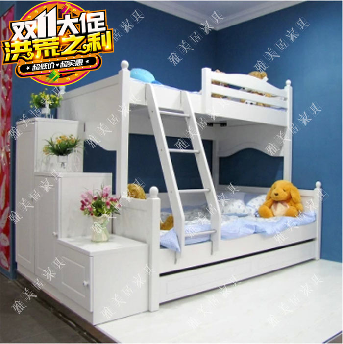 Factory direct creative painting of children on the bed of the Mediterranean pine wood furniture American double bed mother STRATONS