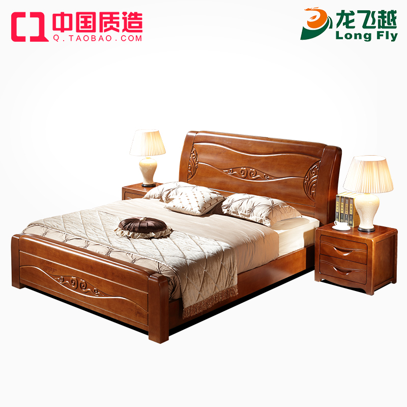 Modern Chinese solid wood bed, oak 1.8 meters double bed, high-grade solid wood bedroom furniture, high box storage