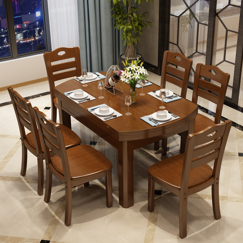 Nordic wood table chair combination modern simple dining table telescopic circular folding new electromagnetic oven dining table