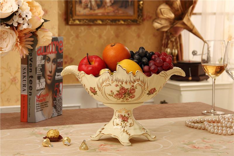 奶黃色奢華陶瓷水果盤干果盤創意時尚糖果盤果籃果簍客廳裝飾品歐式擺件