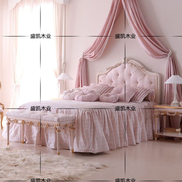 American wood carved gilt single double bed Villa Hotel children room wood princess bed bedroom pink bed