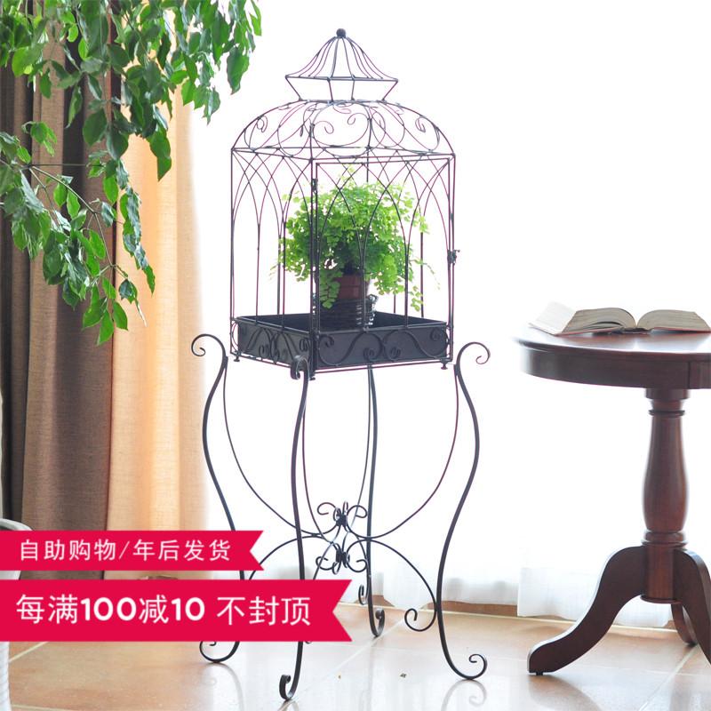 復古咖啡色(不含內部裝飾物)歐式創意鳥籠擺件花房婚慶服裝櫥窗婚禮軟裝飾品園藝落地花架