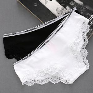 三送一白色女士三角裤低腰内裤纯棉少女蕾丝边性感短裤薄全棉透气