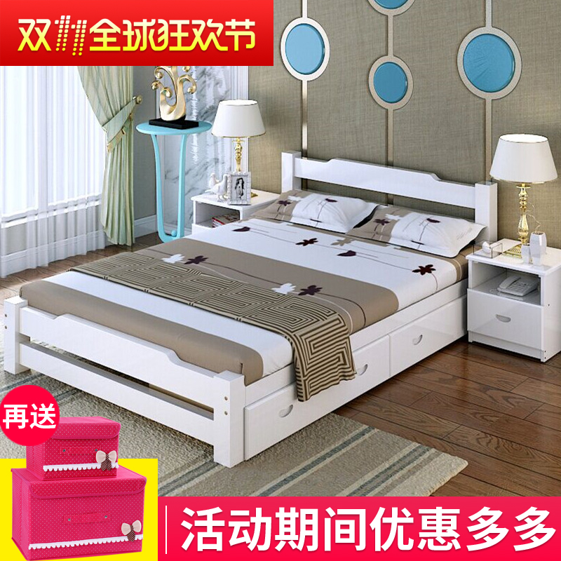 Simple European style white wooden double leather bed 1.5 modern minimalist 1.8 meters high box bed Zhuwo oak drawers