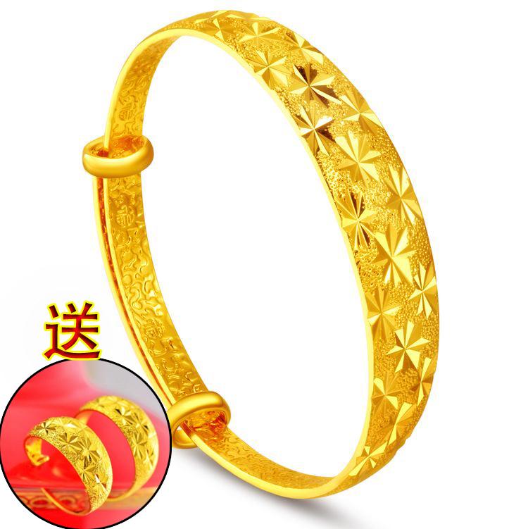面寬12毫米鍍金經典越南金送禮物天星仿黃金沙金手鐲 歐幣結婚首飾品 歐幣