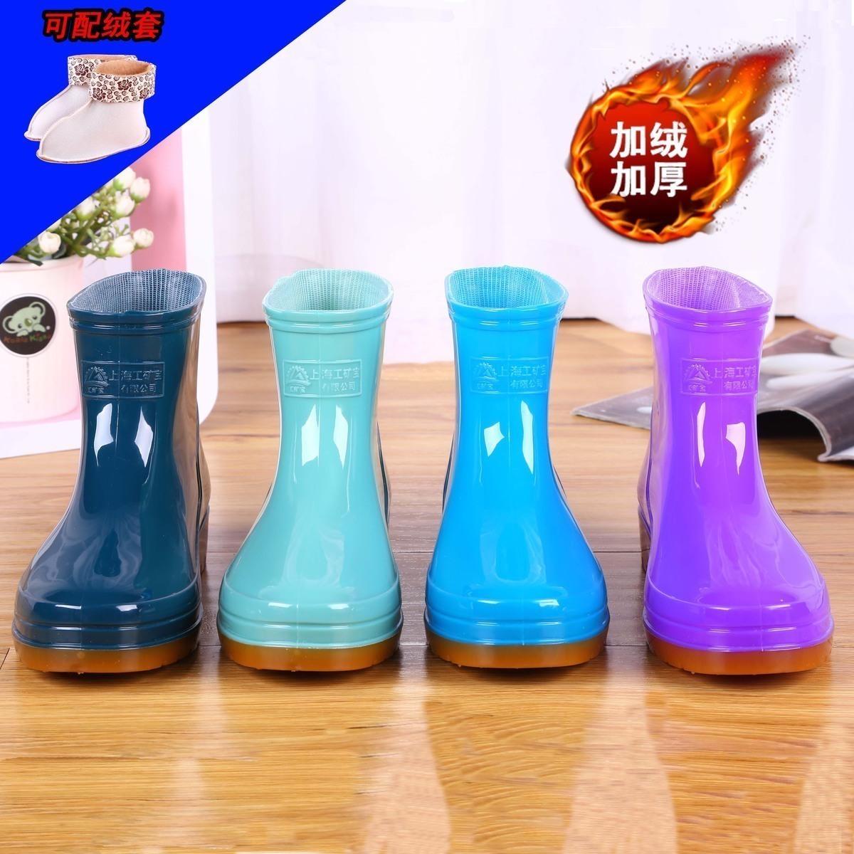 加棉雨鞋雨靴膠靴防水鞋女廚房保暖短筒膠鞋套鞋成人韓國防滑鼕季