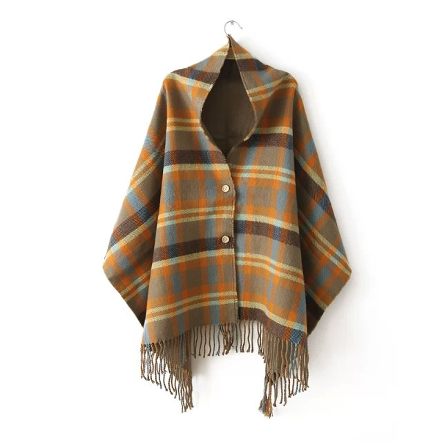 Gucci cashmere button new lady cloak shawls Plaid Scarf fringed dual thickening in autumn and winter