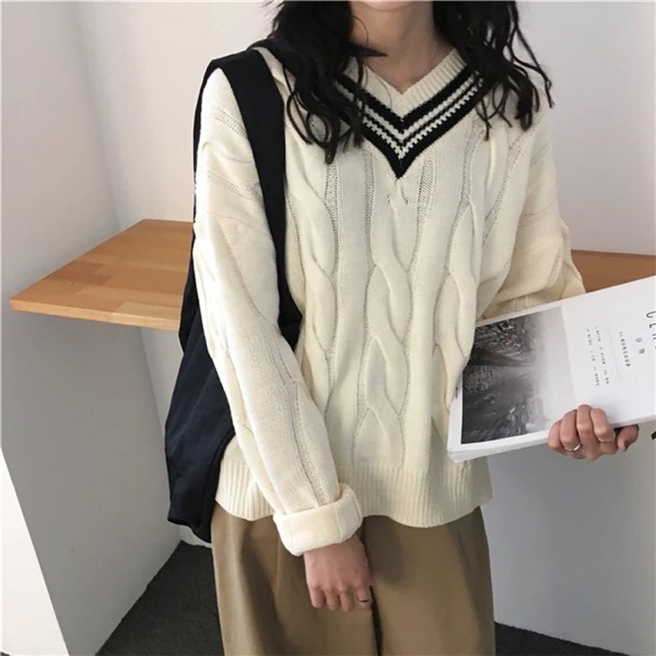 BIGKING Harajuku female head home Daikin sweater loose sweater cute female student sweet lazy college wind