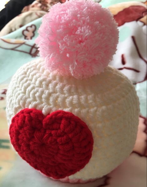 Finished winter warm pure hand-woven ball love children's hats