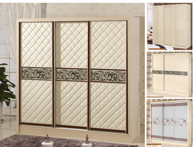 La Chambre de type armoire porte en bois avec un miroir de meubles en bois massif de la porte coulissante de poussée globale simple et moderne de personnalisation de placard