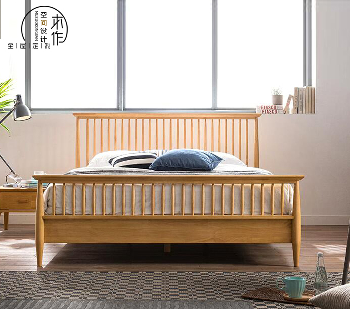 Simple American style rural whole solid wood bed oak double bed 1.5/1.8 bed bed environmental protection wood wax oil