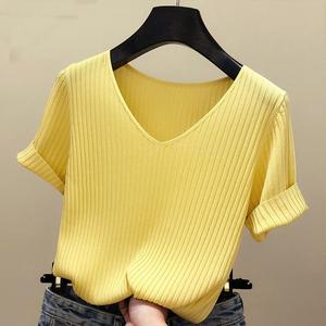夏季短袖t恤女装半袖冰丝针织上衣V领打底衫毛针织衫修身