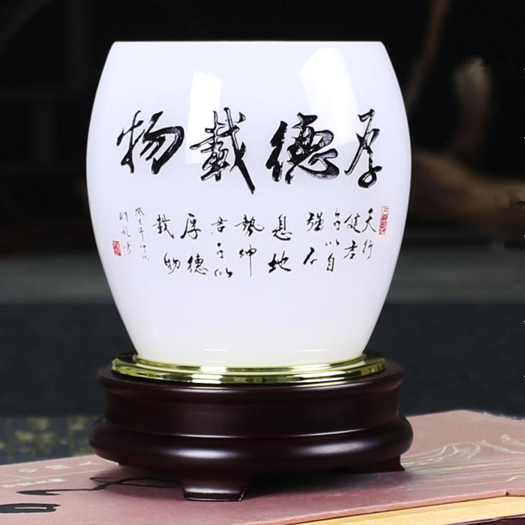 大號高15cm鼓型【厚德載物】高檔辦公室擺件桌面玉石裝飾琉璃筆筒送領導老板商務客戶禮品定制