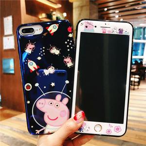 苹果iPhone6plus钢化膜全屏i8小猪佩奇6s可爱7卡通7plus手机彩膜X