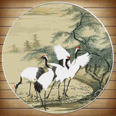 DIY/数字油画圆形花鸟玄关手绘填色丹顶鹤客厅卧室装饰画挂画包邮