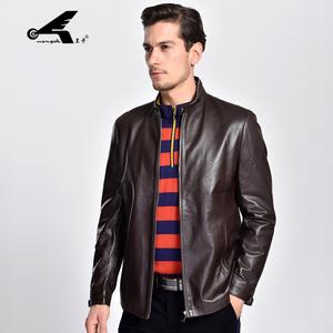 皇卡2016秋冬季男士棕色立领夹克 修身真皮皮衣 XD1665046红棕