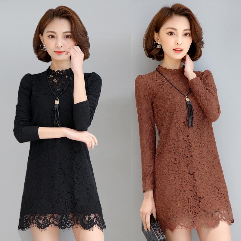 蕾丝打底衫女长袖t恤加绒小衫中长款 秋冬保暖百搭上衣包臀时尚潮