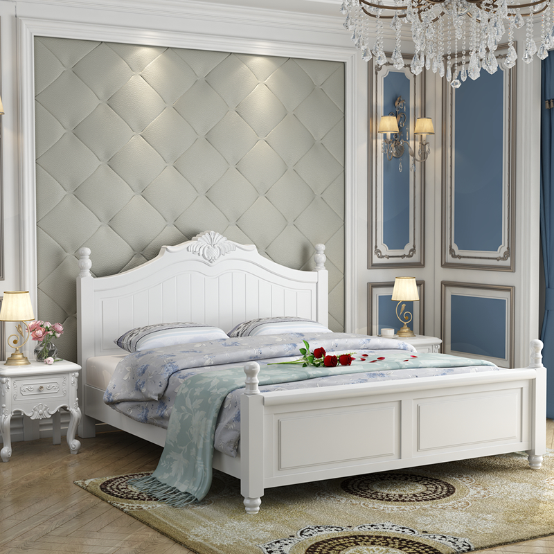 American style solid wood bed, 1.5m meter white princess bed, 1.8 meters double storage bed, single oak bed, simple and modern