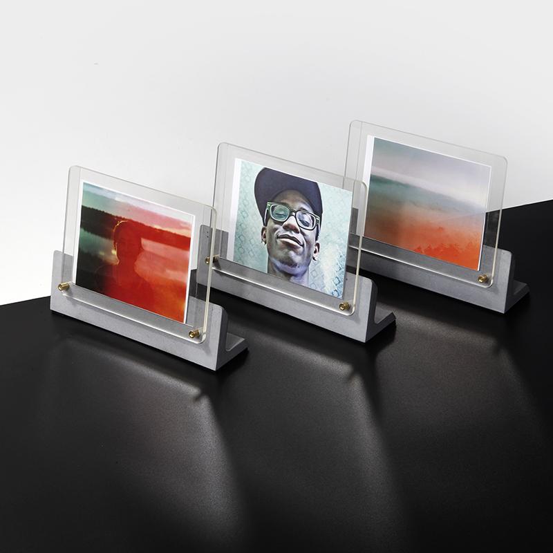 淺灰色5寸辦公裝飾水泥相框桌面擺臺5寸清水混凝土原創意設計師家居北歐風