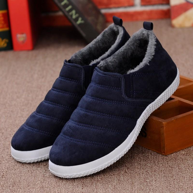 冬季棉鞋男鞋老北京休闲鞋低帮鞋加绒保暖一脚蹬布鞋平底防滑板鞋