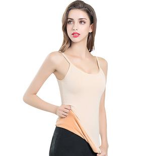 【1件装】加绒加厚塑身双层修身显瘦 女吊带背心打底衫保暖上衣
