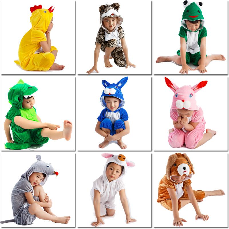 乳白色100cm幼稚園動物演出服裝老鼠小雞小青蛙白兔子小豬小貓小羊兒童表演服