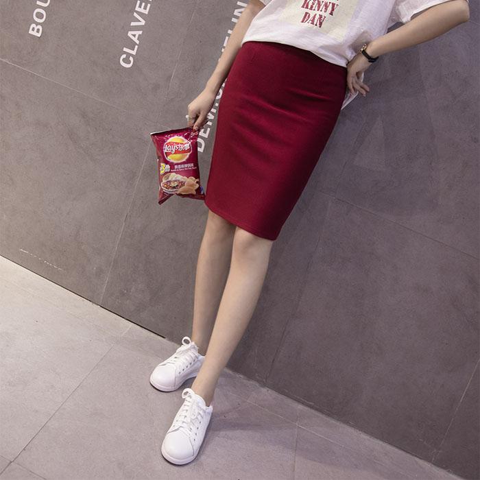2017时尚秋季新款棉质包臀后拉链开叉中长职业铅笔半身裙女大码