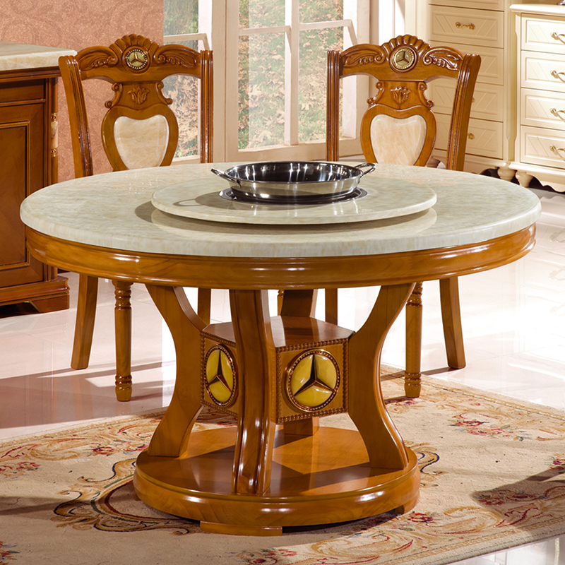 hiina stiilis marmorist õhtusöök kodus ahjus kuuma ahju puidust tooli ümber tamme ümarlaua hotellis.