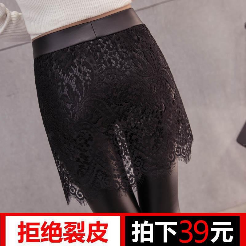 2017新款秋冬皮裤女加绒高腰外穿显瘦蕾丝裙裤假两件小脚裤打底裤
